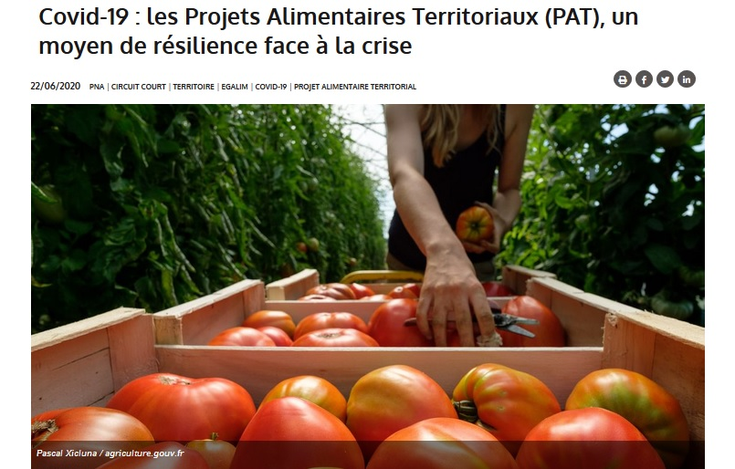 Les PAT, un outil clé pour la résilience alimentaire des territoires et la reterritorialisation de l'alimentation d'après le Ministère
